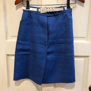 Vtg Saint Laurent Rive Gauche Blue Linen Skirt 2